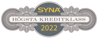 Sigillet är utfärdat av kreditupplysningsföretaget AB Syna www.syna.se